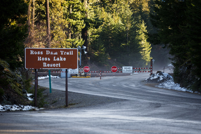 North Cascades, Ross Lake - Winter road closure sign