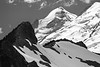 Whatcom, Artist Point - Ridges and glaciers on Baker summit, black and white