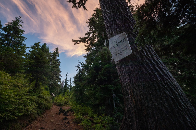 Whatcom, Winchester Mountain - Mt. Baker Wilderness sign and trail at sunrise