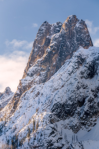 Washington Pass, Overlook - Early Winters Spire with a dusting of snow just after sunrise, vertical