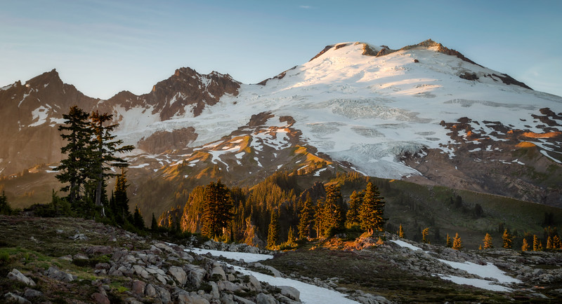 Whatcom, Park Butte - Last light on Mt. Baker just at sunset