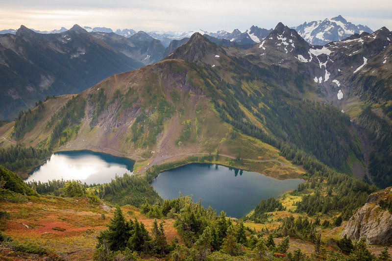 Whatcom, Winchester Mountain - Aerial view of Twin Lakes with Mt. Shuksan and colorful bushes