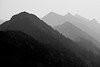 Harts Pass, Windy Pass - Distant peaks in the smoke, black and white