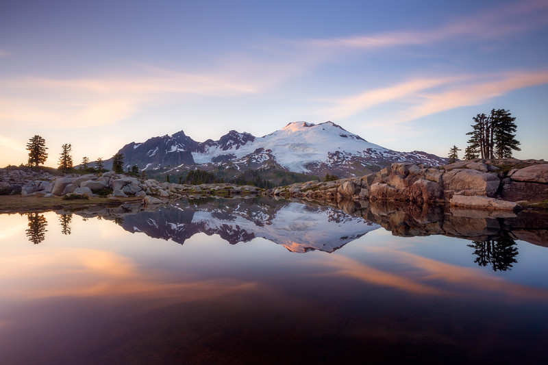 Whatcom, Park Butte - Mt. Baker reflected in lake with sunset colors