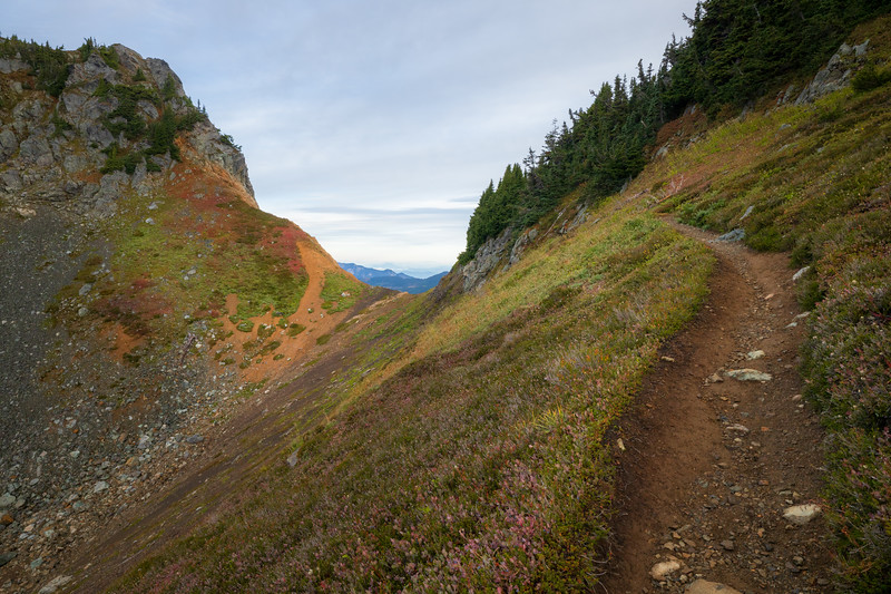 Whatcom, Winchester Mountain - Trail approaching colorful gap in the mountain