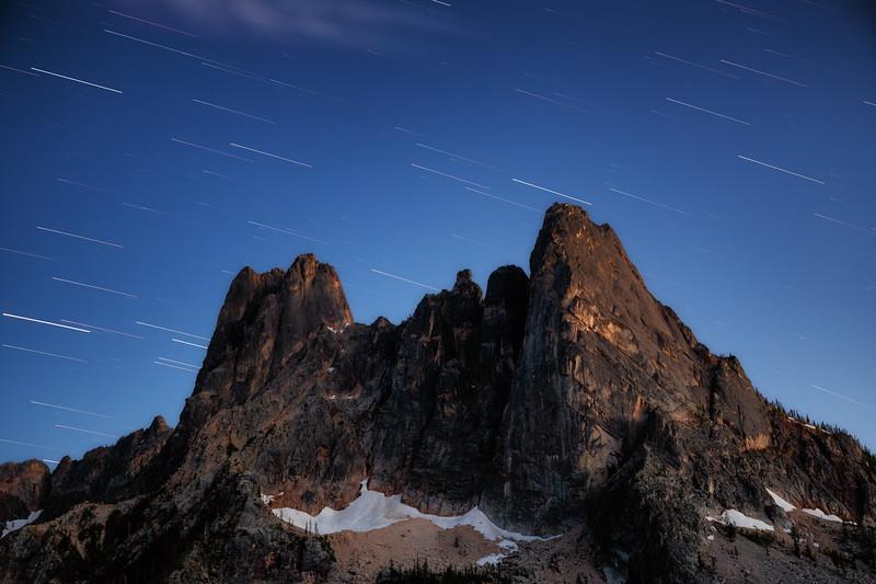 Washington Pass, Overlook - Blue hour star trails over Liberty Bell