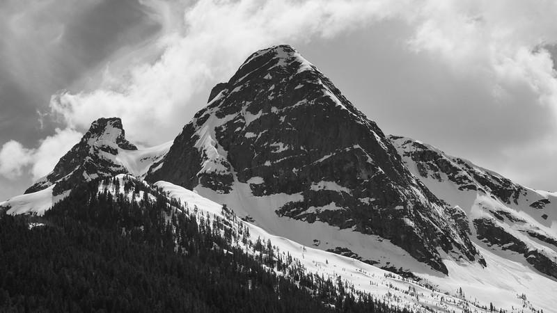 North Cascades, Pyramid Peak - peak and Paul Bunyan's Stump shown in black and white