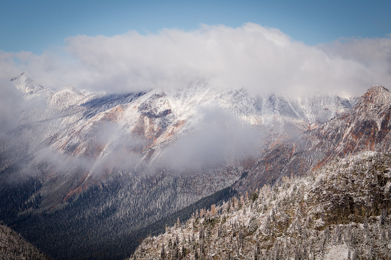Rainy Pass. Maple Pass - Distant snow and fog covered peak with snowy forest below