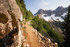 North Cascades, Cascade Pass - Trail passing a large boulder on the way to the pass