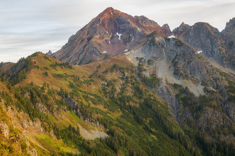 Whatcom, Winchester Mountain - Mt. Larrabee and High Pass shortly after sunrise
