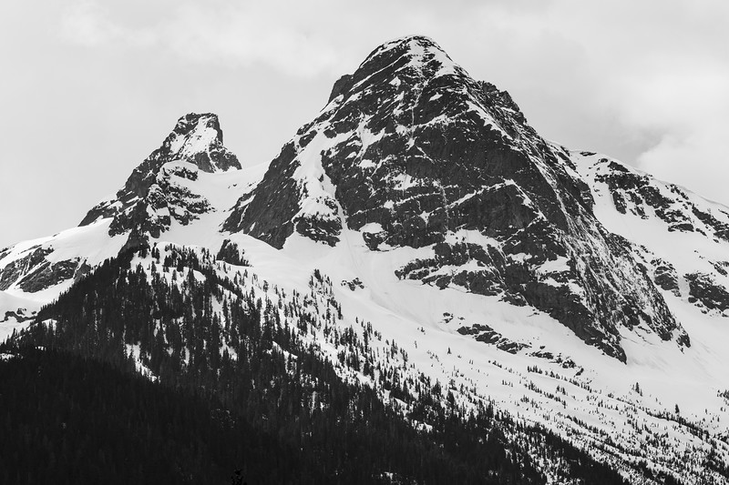 North Cascades, Diablo Lake - Pyramid Peak and Paul Bunyan's Stump in the snow, black and white