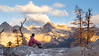 Washington Pass, Blue Lake - Man sitting on ridge with Cutthroat Peak in background