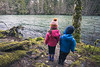 North Cascades, Newhalem - Little boy and girl stopping to look at the Skagit River