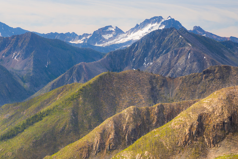 Harts Pass, Tatie Peak - Layered ridges, some forested, burned, and alpine