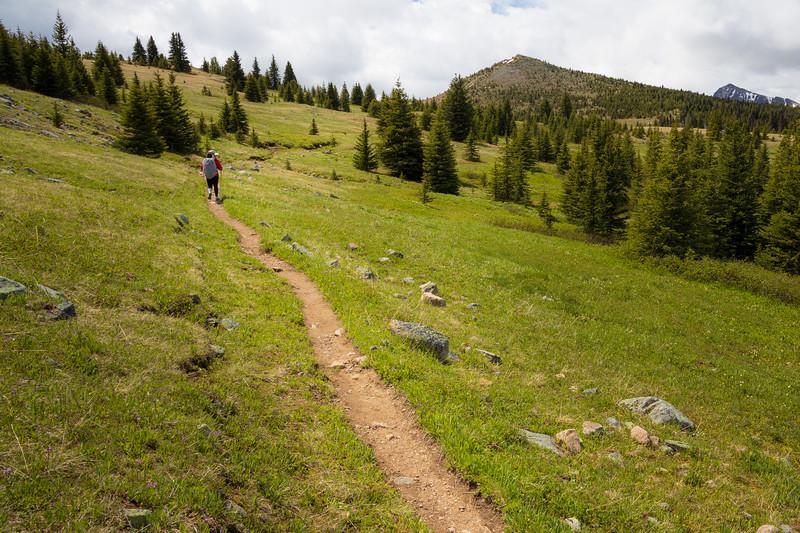 Pasayten, Horseshoe Basin - Hiker in red coat walking towards Sunny Pass