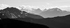 Harts Pass, Windy Pass - Jack Mountain and overlapping ridges, black and white