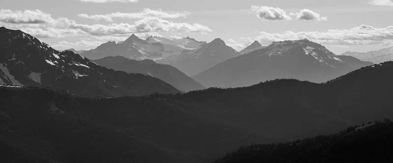 Harts Pass, Windy Pass - Overlapping ridges and distant Jack Mountain, black and white