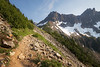 North Cascades, Cascade Pass - Trail approaching boulder field en route to the pass