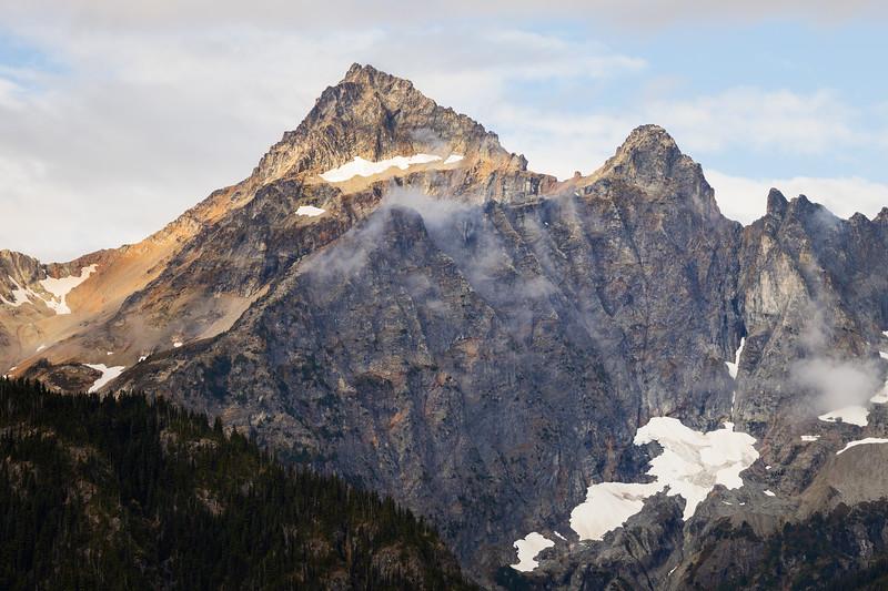 Rainy Pass, Cutthroat Pass - Corteo Peak with fog, sun, and high clouds