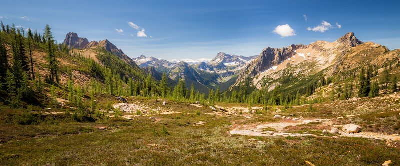 Rainy Pass, Cutthroat Pass - Meadow below Cutthroat Pass looking towards Cutthroat, Corteo, and Porcupine Peaks