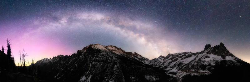 Washington Pass, Overlook - Milky Way and Aurora Over Liberty Bell