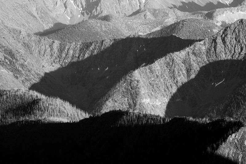 Harts Pass, Slate Peak - Layers of forested ridges, black and white