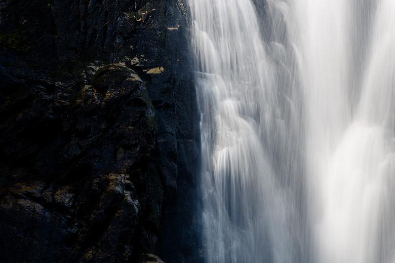 Methow, Falls Creek Falls - Light and dark divide on falls in long exposure