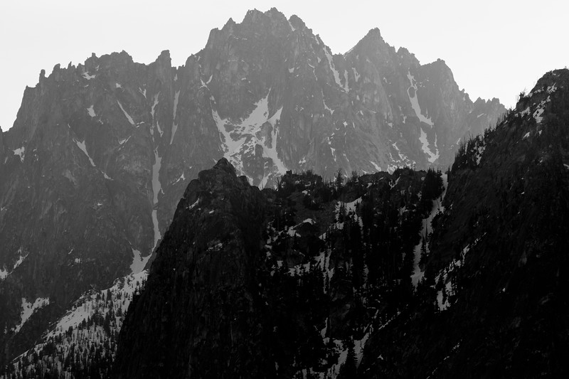 Washington Pass, Overlook - Wine spires in the morning light, black and white
