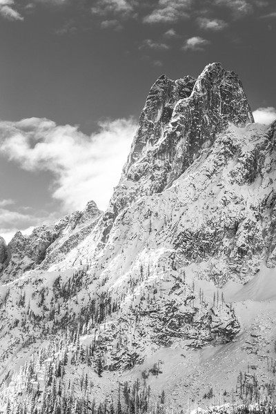 Washington Pass, Overlook - Early Winters Spire with a dusting of snow, black and white, vertical