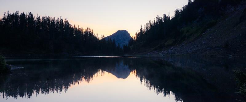 Whatcom, Winchester Mountain - Upper Twin Lake at sunrise looking towards the Silesia Creek range