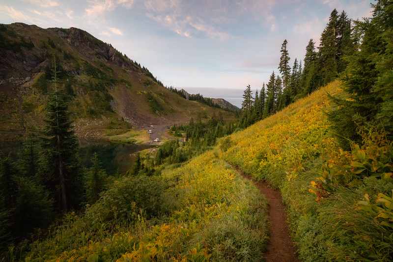 Whatcom, Winchester Mountain - Trail out of Twin Lakes looking back towards the parking lot at sunrise