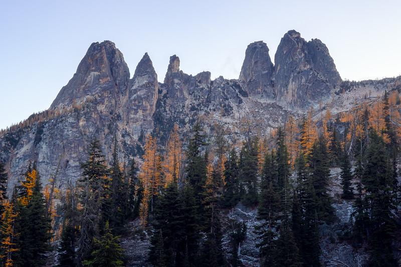 Washington Pass, Blue Lake - Liberty Bell group and fall larches
