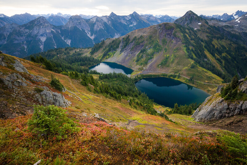 Whatcom, Winchester Mountain - Aerial view of Twin Lakes with colorful bushes