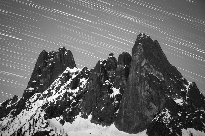 Washington Pass Overlook - Liberty Bell with star trails, black and white