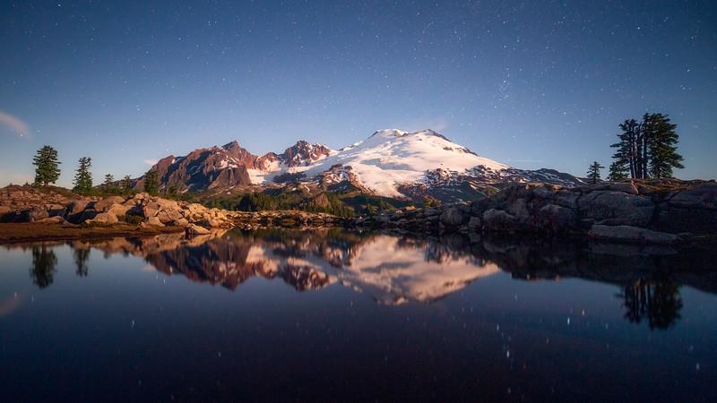 Whatcom, Park Butte - Starlit Mt. Baker reflected in lake