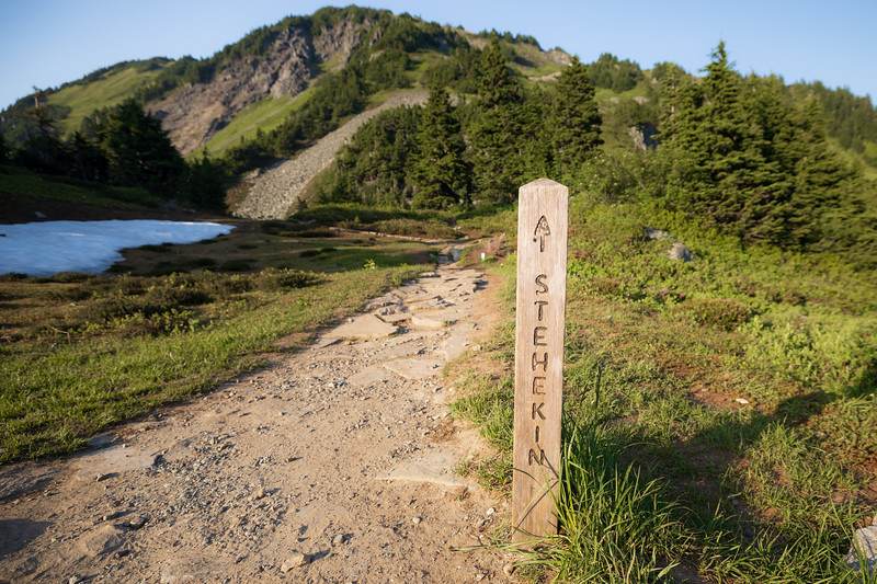 North Cascades, Cascade Pass - Trail sign for Stehekin at the pass