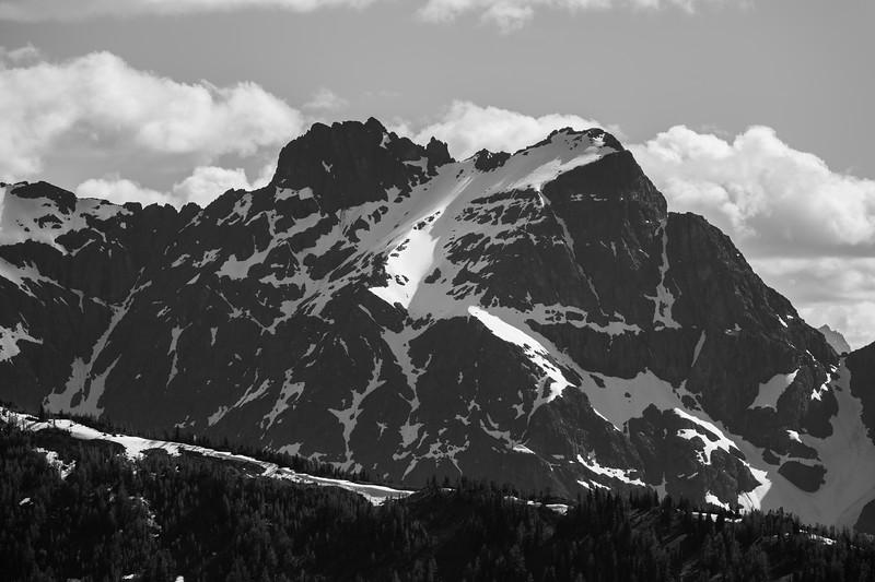 Harts Pass, Windy Pass - Snowy peak with ridge, black and white