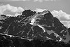 Harts Pass, Windy Pass - Snowy peak with ridge, black and white