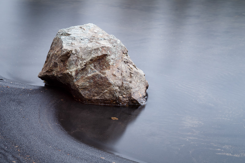 Whatcom, Artist Point - Single rock at the edge of the beach in long exposure