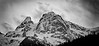 North Cascades, Ross Lake - Mountain peak with snow in black and white