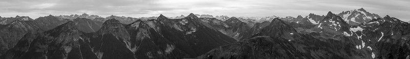 Whatcom, Winchester Mountain - Panorama of Silesia Creek, Shuksan, and many distant peaks, black and white