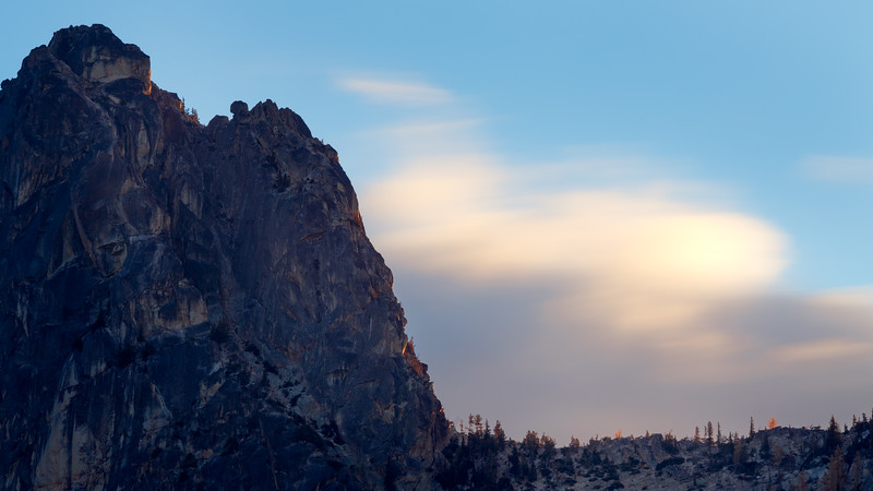 Washington Pass, Blue Lake - Clouds in motion on ridge below South Early Winters Spire, sunrise