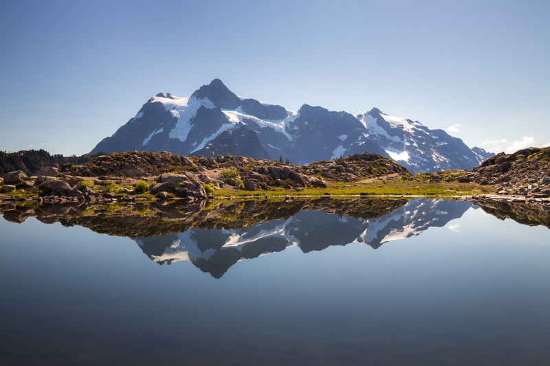 Whatcom, Artist Point - Mt. Shuksan reflected in a perfectly still pond