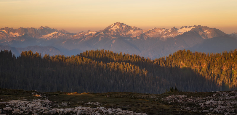 Whatcom, Park Butte - Sunset colors and alpenglow on the Picket Range to the east of Park Butte