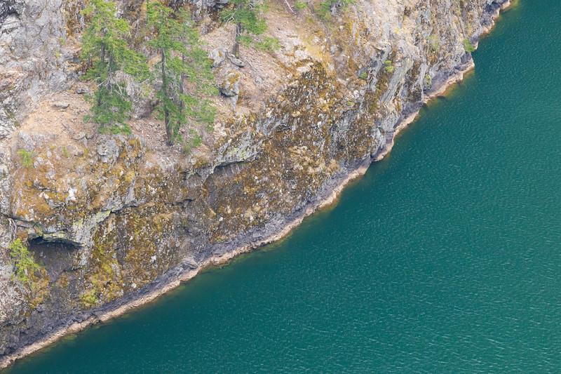 North Cascades, Diablo Lake - Shoreline of lake along canyon edge from high above