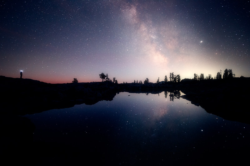 Whatcom, Park Butte - Milky Way and man reflected in lake
