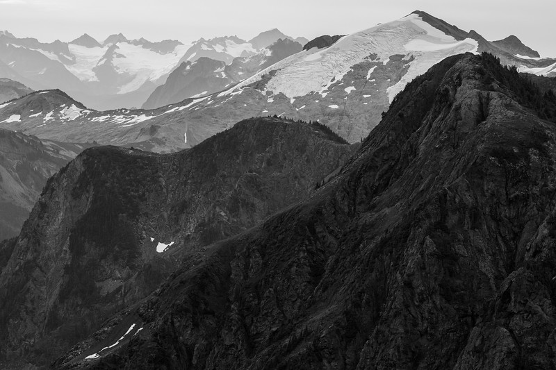 Whatcom, Winchester Mountain - Overlapping ridges looking south into the National Park, black and white