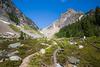 Rainy Pass, Easy Pass - Trail approaching rocky basin below pass
