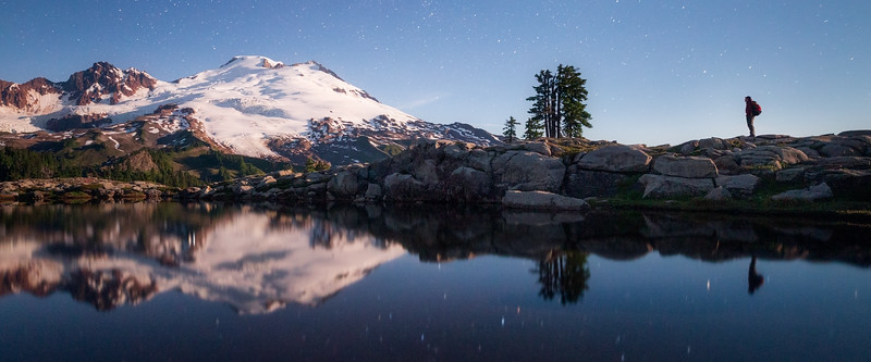 Whatcom, Park Butte - Starlit Mt. Baker and hiker reflected in lake