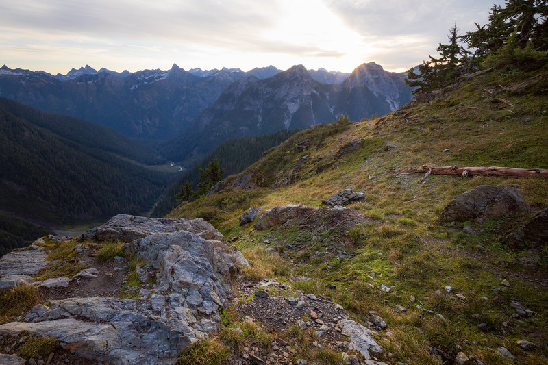 Whatcom, Winchester Mountain - View into Silesia Creek from overlook just after sunrise